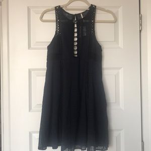Free People Pocketed Navy Dress